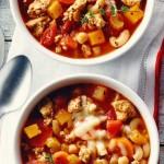 Ground Chicken, Squash & Chickpea Soup