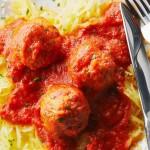 Chicken Meatballs on Spaghetti Squash