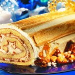 Holiday Log with Maple Syrup and Candied Nuts
