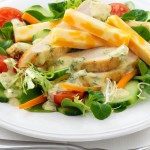Green Salad with Grilled Chicken, Swiss Cheese & Curried Yogurt Dressing