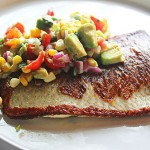 Pan-fried whitefish with corn, avocado, lime and basil relish