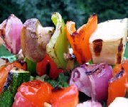Grilled Veggie Brochettes with Chunky (BBQ)