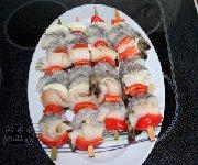 Brochettes de sole et de crevettes sur le BBQ