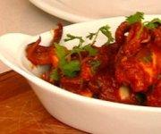 Calmars farcis au chorizo avec sofrito de tomates