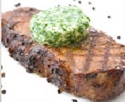 Grilled Strip Loin Steak Red Grill Angus with Basil Butter