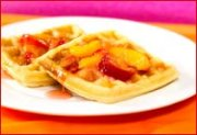 Waffles with Peach Plum Topping