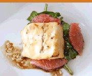 Morue marine au miso avec vinaigre balsamique et pamplemousse