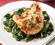 Gratinéed bruschetta chicken breasts with spinach